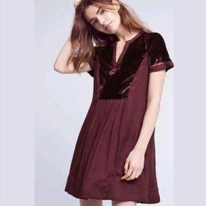 Anthropologie Maeve Ingrid Wine Velvet Dress - S